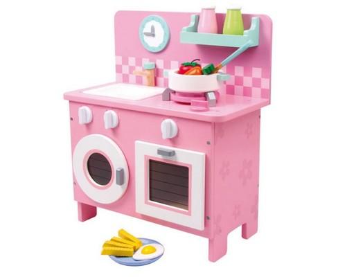 Cucina giocattolo in legno bianca e rosa